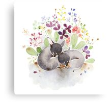 Puppies and flower Canvas Print