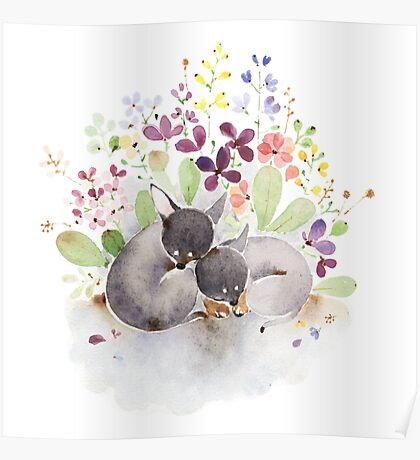Puppies and flower Poster