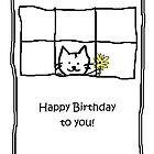 Birthday card - cat with flowers by Kenneth Krolikowski