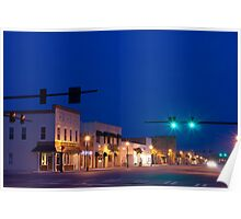 Blue Sunset Over Small Town America Poster