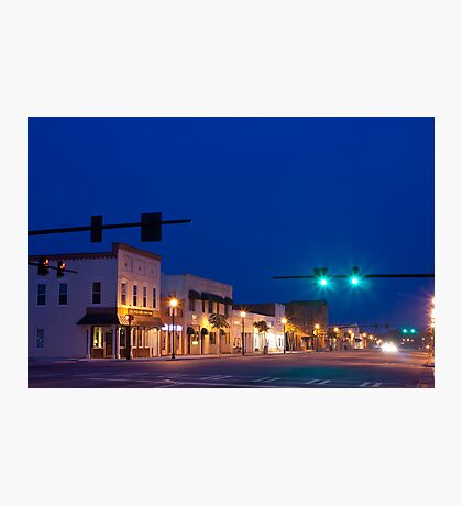 Blue Sunset Over Small Town America Photographic Print