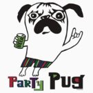 Party Pug on white by Andi Bird