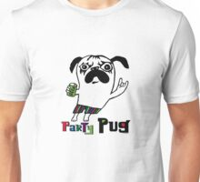Party Pug on white Unisex T-Shirt