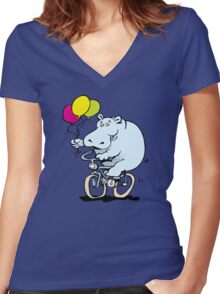 hippo on a bike Women's Fitted V-Neck T-Shirt