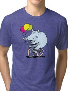 hippo on a bike Tri-blend T-Shirt