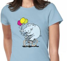 hippo on a bike Womens Fitted T-Shirt