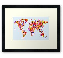 Flower World Map Canvas Art Print Framed Print