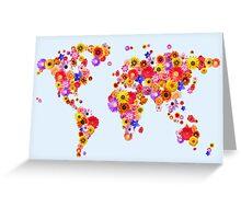 Flower World Map Canvas Art Print Greeting Card