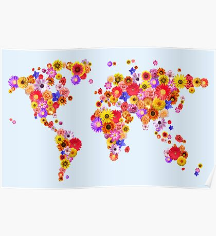 Flower World Map Canvas Art Print Poster