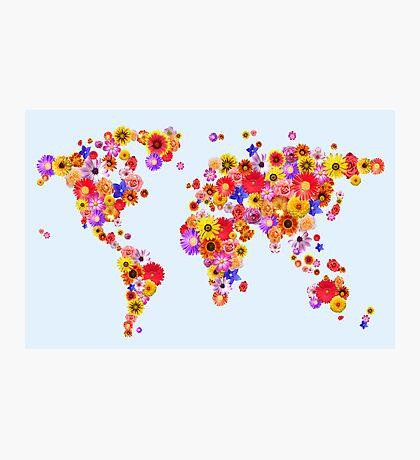 Flower World Map Canvas Art Print Photographic Print