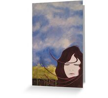 Girls Ghost in Grass Field Greeting Card