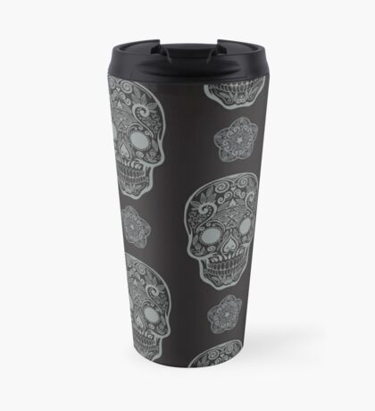 Skull day of the dead death muerte mask bone head black white. mystery calavera halloween dia de los muertos ornament. native traditional mexican seamless pattern Travel Mug