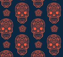 Skull day of the dead death muerte mask bone head black white. mystery calavera halloween dia de los muertos ornament. native traditional mexican seamless pattern by julkapulka