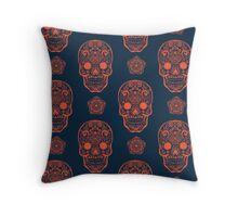 Skull day of the dead death muerte mask bone head black white. mystery calavera halloween dia de los muertos ornament. native traditional mexican seamless pattern Throw Pillow