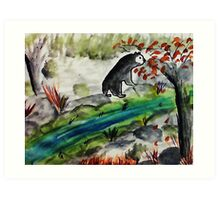 Black Bear going to feed, if he can find it,,,watercolor Art Print