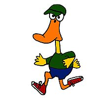 Funny Duck Jogging Cartoon Photographic Print