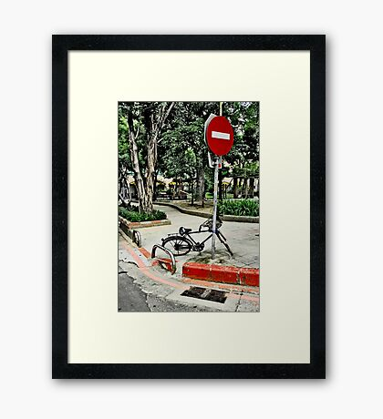 Do Not Enter Bike Framed Print