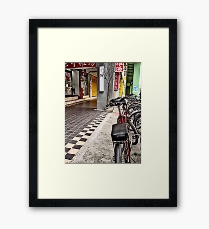 Checkered Ground Bike Taipei Framed Print