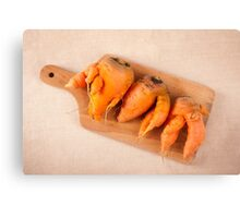 raw deformed carrot roots Canvas Print