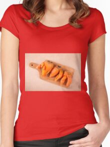 raw deformed carrot roots Women's Fitted Scoop T-Shirt