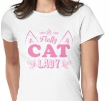 Fluffy cat lady (long hair kitty cute!) Womens Fitted T-Shirt