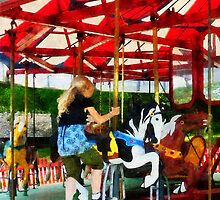 Girl Getting on Merry-Go-Round by Susan Savad