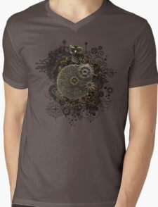 The Steampunk Owl Mens V-Neck T-Shirt