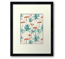 Flowering Succulent Pattern in Cream, Coral and Green Framed Print