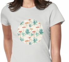 Flowering Succulent Pattern in Cream, Coral and Green Womens Fitted T-Shirt