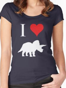 I Love Dinosaurs - Triceratops (white design) Women's Fitted Scoop T-Shirt