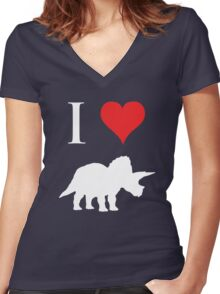 I Love Dinosaurs - Triceratops (white design) Women's Fitted V-Neck T-Shirt