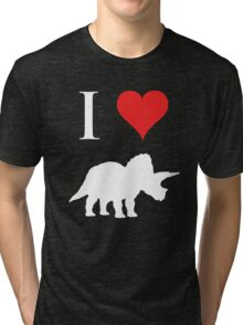 I Love Dinosaurs - Triceratops (white design) Tri-blend T-Shirt