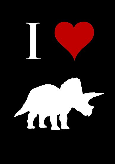 I Love Dinosaurs - Triceratops (white design) by jezkemp