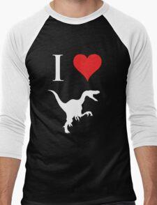 I Love Dinosaurs - Velociraptor (white design) Men's Baseball ¾ T-Shirt