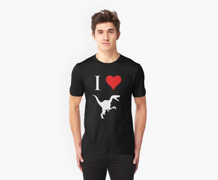 I Love Dinosaurs - Velociraptor (white design) by jezkemp