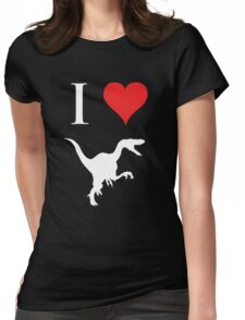 I Love Dinosaurs - Velociraptor (white design) Womens Fitted T-Shirt