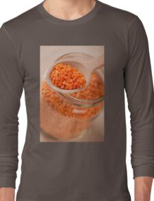 Portion of red lentils on wooden spoon Long Sleeve T-Shirt
