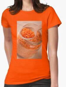 Portion of red lentils on wooden spoon Womens Fitted T-Shirt