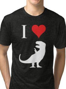 I Love Dinosaurs - T-Rex (white design) Tri-blend T-Shirt