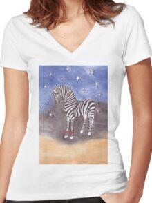 Christmas zebra vector Women's Fitted V-Neck T-Shirt