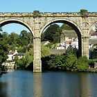 Railway Bridge Over Calm River Water by Toots2