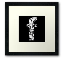 Small Letter f, black background Framed Print