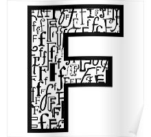 Letter F, white background Poster