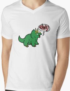 Triceratops Mens V-Neck T-Shirt
