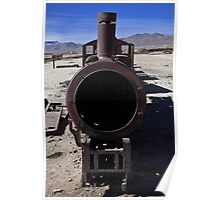 Train cemetery near the bigger leading world floors of salt - Salar de Uyuni, Bolivia, South america Poster