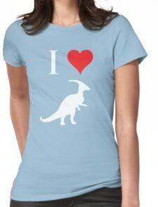 I Love Dinosaurs - Parasaurolophus (white design) Womens Fitted T-Shirt