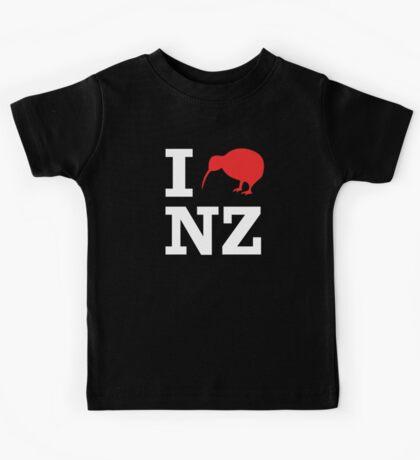 I Love New Zealand (Kiwi) white design Kids Tee