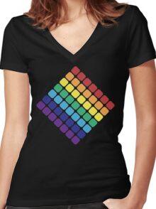 Rainbow Diamond Women's Fitted V-Neck T-Shirt