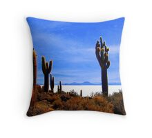 Giant Cacti - Salar Uyuni Throw Pillow