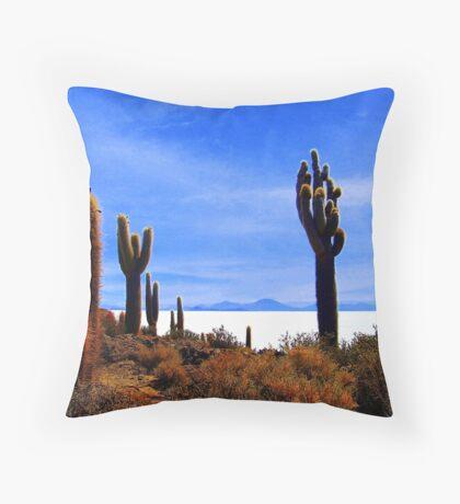 Giant Cacti - Salar Uyuni Throw Pillow